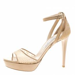 Jimmy Choo Beige Lace and Patent Leather Kayden Ankle Strap Platform Sandals Size 40.5 140528