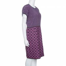 Victoria, Victoria Beckham Purple Diamond Pattern Silk and Jacquard Dress M