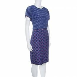 Victoria, Victoria Beckham Purple and Blue Diamond Pattern Silk and Jacquard Dress M