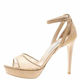 Jimmy Choo Beige Lace and Patent Leather Kayden Ankle Strap Platform Sandals Size 40 140479