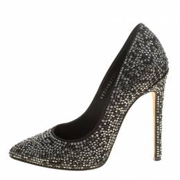 Gina Black Satin Anais Crystal Embellished Pumps Size 38 141878