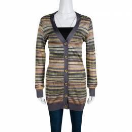 M Missoni Multicolor Patterned Knit Contrast Ribbed Trim Cardigan M