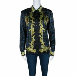 Escada Vintage Balmoral and Check Print Long Sleeve Silk Shirt M