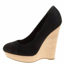 Saint Laurent Black Satin Maryna Wedge Pumps Size 35 139787