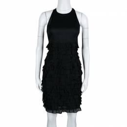 Burberry London Black Cotton Tiered Ruffle Bottom Sleeveless Dress S 139654