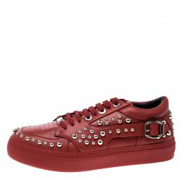 Jimmy Choo Red Studded Leather Roman Sneakers Size 42 141202