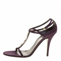 Gucci Purple Satin T-strap Sandals Size 40.5 142127