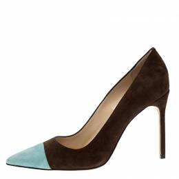 Manolo Blahnik Two Tone Suede Bipunta Pointed Toe Pumps Size 40.5