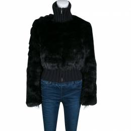Fendi Black Cashmere and Fox Fur Zip Front Bomber Jacket S 139245
