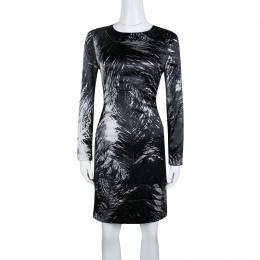 MCQ by Alexander McQueen Monochrome Printed Silk Satin Long Sleeve Dress M 139620