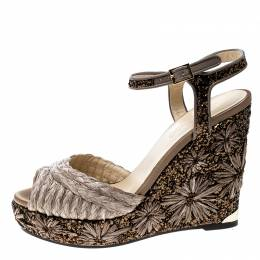 Jimmy Choo Light Mocha Raffia and Embroidered Coarse Glitter Perla Peep Toe Wedge Sandals Size 40 141192