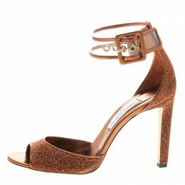 Jimmy Choo Metallic Pop Orange Lurex and PVC Moscow Ankle Strap Sandals Size 41 140739