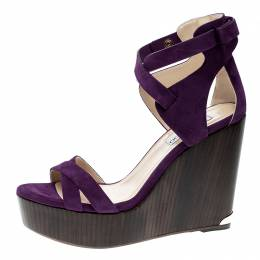 Jimmy Choo Purple Suede Naomi Cross Strap Bow Detail Wedge Sandals Size 41 141177