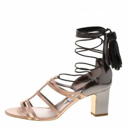 Jimmy Choo Beige Satin and Metallic Leather Diamond Tie Up Block Heel Sandals Size 40 141182