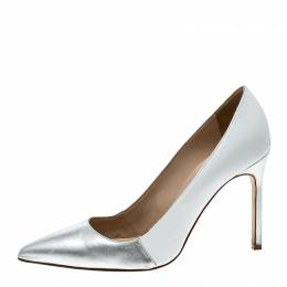 Manolo Blahnik Two Tone Leather BB Pointed Toe Pumps Size 36.5