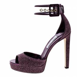 Jimmy Choo Metallic Berry Purple Lamè Fabric and PVC Mayner Peep Toe Ankle Cuff Sandals Size 41 141163