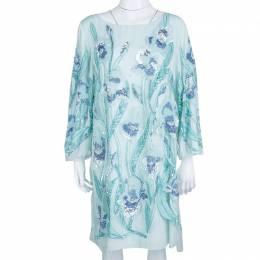 Marchesa Notte Light Blue Embroidered Embellished Long Sleeve Tulle Dress M 139772