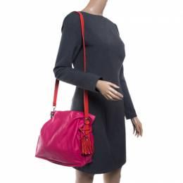 Loewe Pink/Coral Leather Flamenco Shoulder Bag 141154