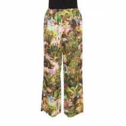 Carven Multicolor Havana Jungle Print Elasticized Waist Cotton Poplin Pants M