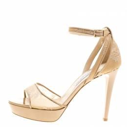 Jimmy Choo Beige Lace Kayden Ankle Strap Platform Sandals Size 40 141130