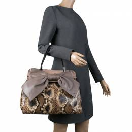 Valentino Beige Exotic Skin and Leather Aphrodite Bow Bag 136602