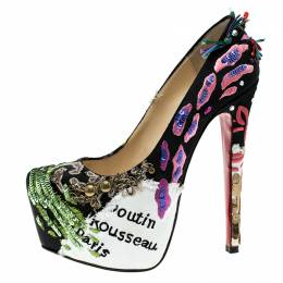 Christian Louboutin Limited Edition Daffodile Brodee Crepe Satin Pumps Size 35