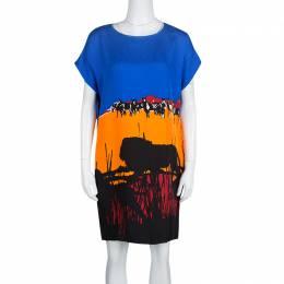 Diane Von Furstenberg Multicolor Lion Landscape Print Harriet Dress XS 132791
