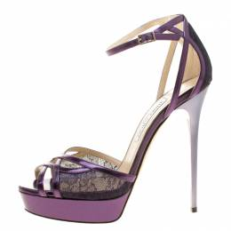Jimmy Choo Metallic Purple Leather and Lace Laurita Platform Ankle Strap Sandals Size 40 136540