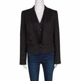 Dolce&Gabbana Black Pin Striped Wool Layered Blazer M