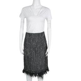 Ch Carolina Herrera Monochrome Textured Fringed Ostrich Feather Trim Skirt XL 134480