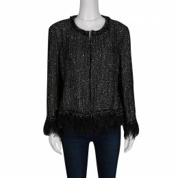 Ch Carolina Herrera Monochrome Textured Fringed Ostrich Feather Trim Jacket L 134481