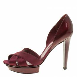 Sergio Rossi Burgundy Patent Leather and Satin D'orsay Pumps Size 38.5 136169