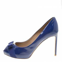 Salvatore Ferragamo Blue Patent Leather Plum Bow Detail Peep Toe Pumps Size 40.5 136435