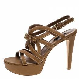 Louis Vuitton Brown Leather Platform Stappy Sandals Size 39 138373