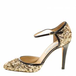 Jimmy Choo Metallic Gold Sequin and Leather Tessa Ankle Strap Sandals Size 36.5 133548