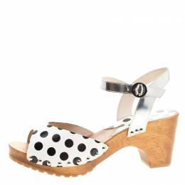 Sophia Webster Monochrome Polka Dot Leather Ava Ankle Strap Sandals Size 41