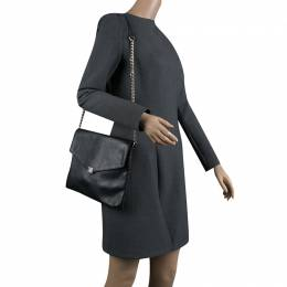Carolina Herrera Black Leather Envelope Shoulder Bag 132950