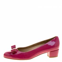 Salvatore Ferragamo Pink Patent Leather Vara Bow Block Heel Pumps Size 40.5 135921