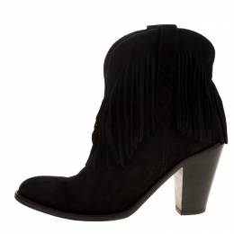Saint Laurent Paris Black Suede Fringe New Western Boots Size 37