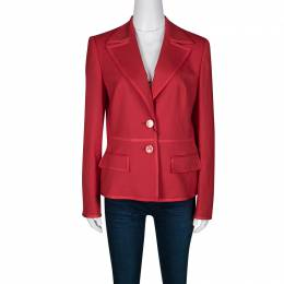 Escada Red Wool Tailored Blazer XS