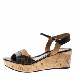 Fendi Brown/Black Zucca Canvas and Leather Wedge Sandals Size 38 135130