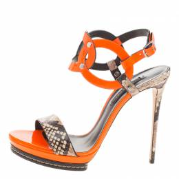 Casadei Orange Patent and Embossed Roccia Leather Platform Ankle Strap Sandals Size 38 127473