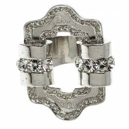Dior Crystal Embellished Silver Tone Ring Size 49 130865