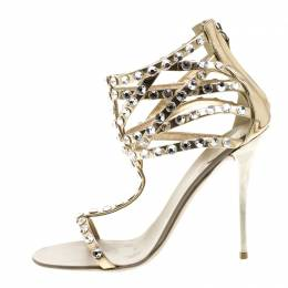 Giuseppe Zanotti Design Metallic Dull Gold Leather Crystal Embellished T Strap Sandals Size 37 130861