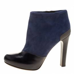 Fendi Navy Blue/Black Suede and Leather Ankle Boots Size 37.5 128874