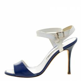 Manolo Blahnik Blue/White Leather Llonicabi Ankle Strap Sandals Size 35.5 131905