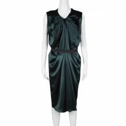 Lanvin Green Silk Draped Elastic Band Detail Sleeveless Dress M 126866