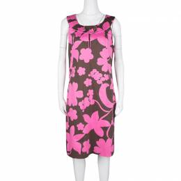 Tory Burch Brown and Pink Floral Printed Cotton Sleeveless Dress L 126864