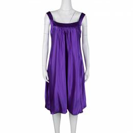 Dolce&Gabbana Purple Silk Satin Sleeveless Balloon Dress S 126860