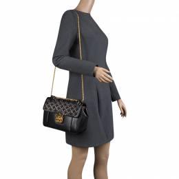 Chloe Black Leather Medium Elsie Ring Embellished Shoulder Bag 130097